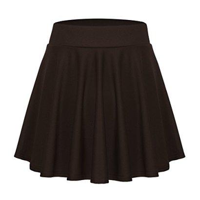 ACEVOG-Womens-Stretch-Waist-Flared-Skater-Skirt-Dress-Mini-SkirtBrownLarge