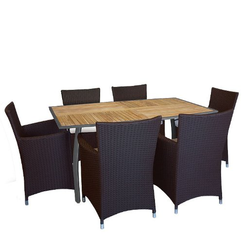 Gartengarnitur FSC Teak Aluminium Tisch Loungesessel - 7tlg