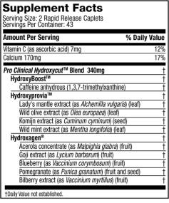 Pro Clinical Hydroxycut Supplement Facts