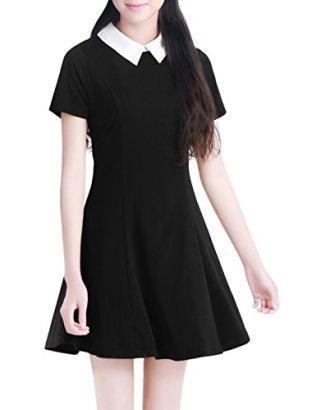 Allegra-K-Women-Contrast-Doll-Collar-Short-Sleeves-Flare-Dress