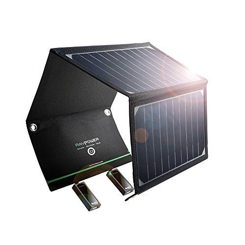 防災 非常用 ソーラーチャージャー RAVPower 超軽量 改良版 16W 2ポート 折りたたみ式 ソーラーパネル ソーラー充電器 iPhone iPad Galaxy S7 など スマホ タブレット モバイルバッテリー 対応 スマホ用充電器 アウトドア用