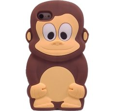 Cute 3D Monkey Shaped Soft Protective Silicone Jelly Case for iPhone 4 4S - Coffee