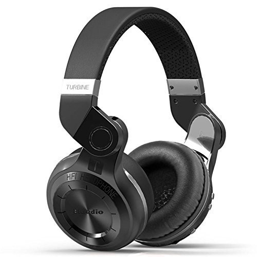 Bluedio T2 (Turbine 2) Hurricane Series Bluetooth On-Ear Wireless Stereo Headphone with Microphone, 57mm Drivers, 195° Rotary Folding, Black