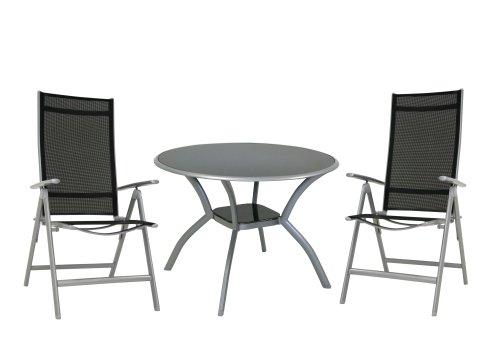 greemotion set contiempo alu kunststoffummant polyestergewebe silber 1 glastisch mit. Black Bedroom Furniture Sets. Home Design Ideas