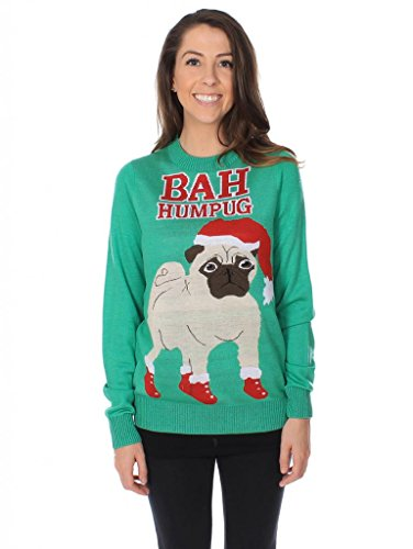 Women's Bah Hum Pug Ugly Christmas Sweater Size S
