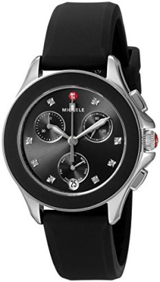MICHELE-Womens-Quartz-Stainless-Steel-and-Silicone-Casual-Watch-ColorBlack-Model-MWW27C000002