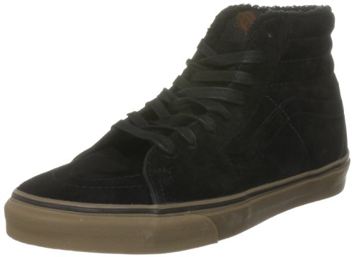 Vans U SK8-HI (Fleece)bk/dgum VKYAL7X, Unisex - Erwachsene Sneaker, Schwarz (Fleece) black/dark gum), EU 44.5