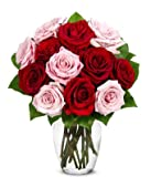 From You Flowers - Red Roses, Pink Roses, Oh My! - One Dozen (Free Vase Included)