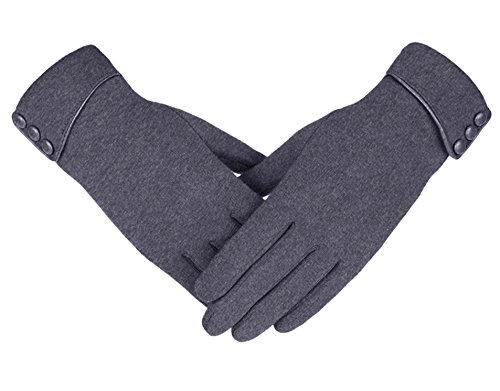 Knolee Women's Screen Gloves Warm Lined Thick Touch Warmer Winter Gloves,Grey