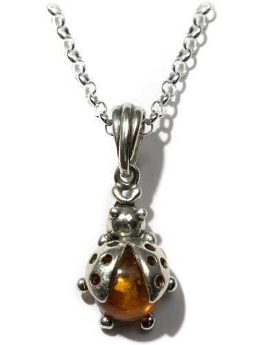 Honey Amber Sterling Silver Smiling Sun Pendant Rolo Chain 18