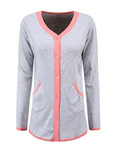 Womens-Comfort-2-Piece-Elegant-Sleepwear-Long-Sleeve-Nursing-Loungewear-Pajamas-Set