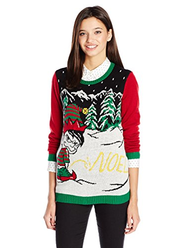 Ugly-Christmas-Sweater-Juniors-Light-Up-Noel-Written-in-Snow-Pullover