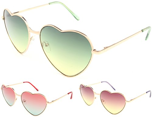 Enimay Women's Heart Shapes Sunglasses Summer Novelty Sexy Fashion Celebrity