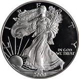 2000 P Silver American Eagle Proof Collectible US Coin .999 Fine Silver Bullion with Original Box and COA