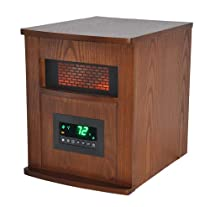 LIFESMART 6 Element Large Room Infrared Quartz Heater with Wood Cabinet and Remote