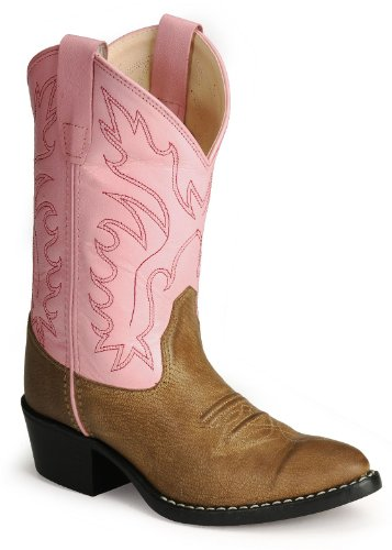 Old West Girls' Corona Calfskin Cowgirl Boot Tan 1 D(M) US