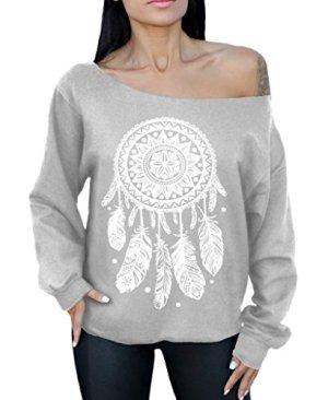 Dream-Catcher-Off-the-Shoulder-Oversized-Sweatshirt-White-Native-American-Indian