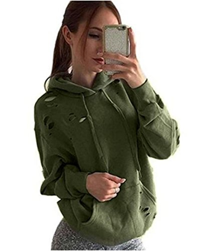 ASSKDAN Damen Retro Löcher Langarm Hooded Sweater Kapuzenpulli Kapuzenpullover Hoodie Sweatshirt Casuel-2016