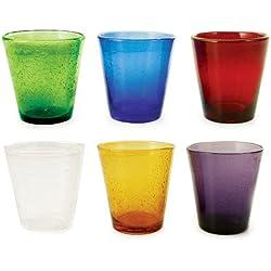 VILLA D'ESTE Juego de 6 Vasos de Agua Cancún, Multicolor