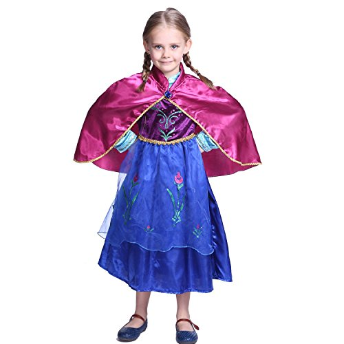 Girls Anna Frozen Princess Dress: Halloween Costume: Ages 8-9 (Cape)