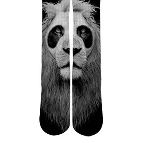 DopeSox Men's Cool Retro Vintage Panda Lion 3D Socks One Size (6-12) White
