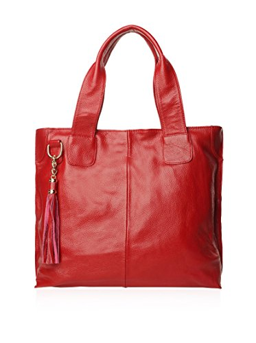 Cannci Leather Tote, Wine