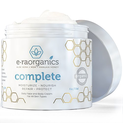 Top Rated Face Moisturizer Cream By Era Organics (4oz) Advanced Healing Natural Skin Care with Aloe Vera, Shea Butter, Manuka Honey, Cocoa Butter, Coconut Oil and More to Nourish Your Face, Body and Hands • Our Paraben-free, Hypoallergenic, Non-greasy Formula Makes an Excellent Day and Night Cream That Lasts 8-12 Hours for Dry, Damaged, Oily, Sensitive Skin • Unique 10-in-1 Formula Feeds Your Skin All the Nutrients It Needs for Optimum Health and Healing to Get the Results You've Been Hoping For. Satisfaction Guaranteed.