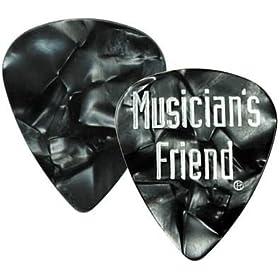 musician friend standard celluloid guitar picks 1 dozen black pearl thin