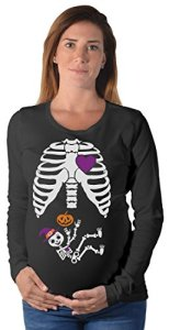 Halloween-Pregnant-Skeleton-Xray-Costume-Pregnant-Maternity-Long-Sleeve-Shirt