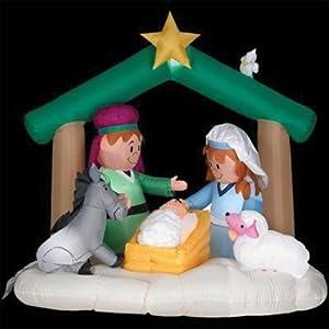 Amazon.com : Gemmy 6 Feet Tall Airblown Christmas Nativity ... on Backyard Decorations Amazon id=21225