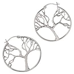 Product Image Platinum Over Sterling Silver Tree Hoop Earrings - White
