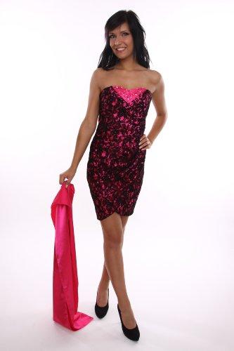Modell 2065 Sexy Abendkleid knielang, schulterfrei pink mit Strass und Spitze Größe 40