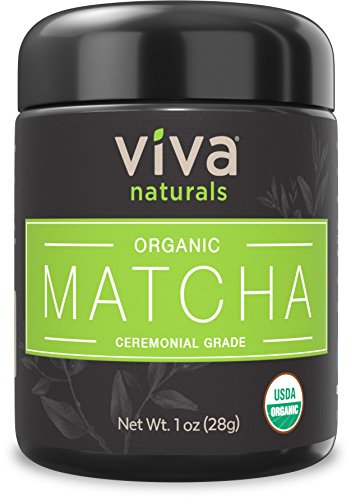 Viva Naturals Organic Matcha Green Tea Powder 1 oz – Heavenly Ceremonial Grade Tencha, 100% Pure & Third Party Tested