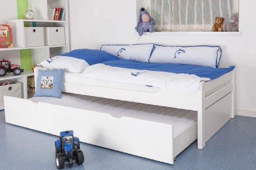 """Kinderbett / Jugendbett """"Easy Sleep"""" K1/1h inkl. 2. Liegeplatz und 2 Abdeckblenden, 90 x 200 cm Buche Vollholz massiv weiß lackiert"""