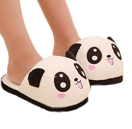 Cute Black Cat Plush Slippers Pussy Warm Winter Slippers for Women (Us4-8) (Panda)
