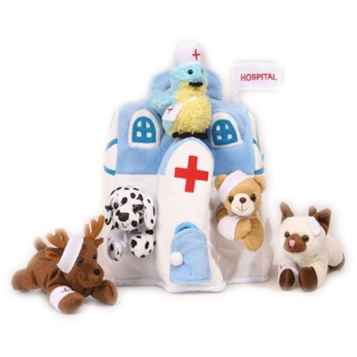 Plush Animal Hospital House with Animals