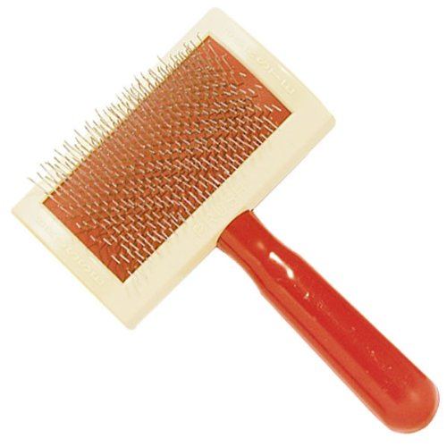 Oscar Frank Universal Plastic Handle Pet Slicker Brush with Curved Back, Small