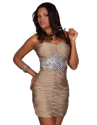 Trägerloses Bandeau-Minikleid aus feinem Stretch-Stoff mit Glamouröse Zier-Fläche aus eckigen Plastik-Steinchen in Diamant-Optik unterhalb des Brustbereichs Gr. 34 36 38 Beige