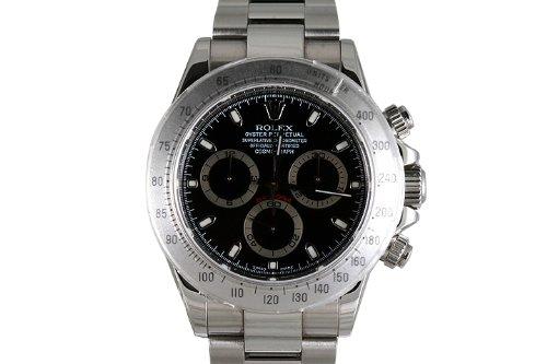 Rolex Mens Stainless Steel Daytona Black Dial
