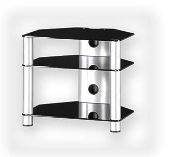 sonorous rx2130 rack separe pour hi fi en aluminium argente et verre noir import royaume uni zfezwtrk 48