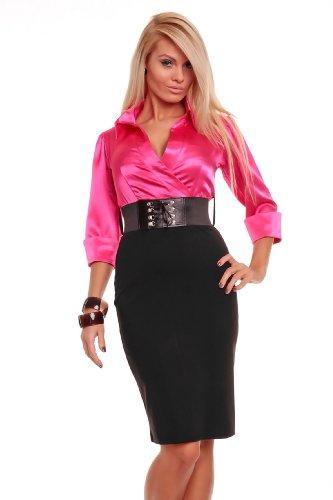 Astrapahl, Business Abendkleid, lange Ärmel, mit Gürtel, Länge knielang, Farbe pink - schwarz