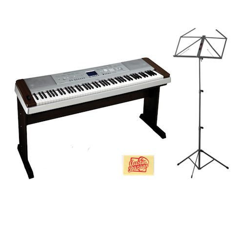 Yamaha DGX640 Walnut Digital Piano with MUS-A3BK Music Stand and Dust Cloth