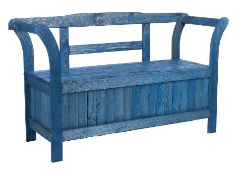 Gartenbank Truhenbank mit Kiste Stauraum für Polsterauflagen oder Sitzauflagen Friesenblau wetterfest lasiert