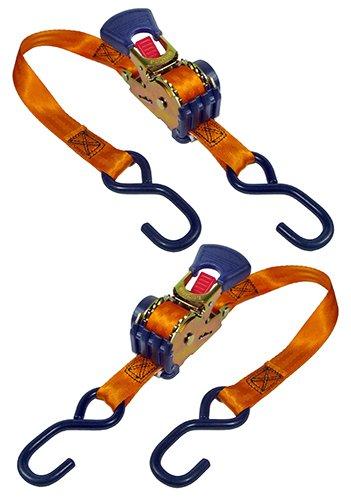 "Keeper 05561 6' x 1"" Retractable Ratchet Tie-Down, 2 Pack"