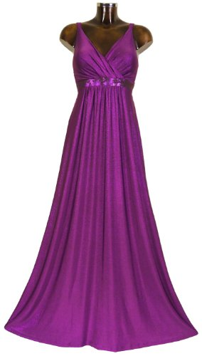 Monty Q Elegantes Maxikleid Party - Abendkleid Lang Empire E3 in Groesse 50/52