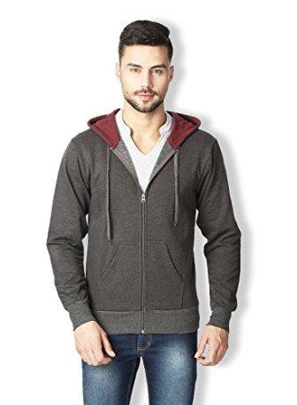 Rodid Men's Cotton Solid Full Sleeve Sweatshirt Charcoal Melange_XX-L