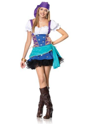 Leg Avenue Junior's 2 Piece Gypsy Princess Costume, Purple/Blue, Small/Medium