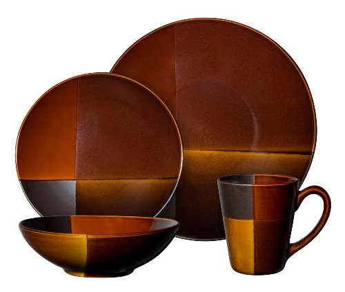 Gibson Convergence 16-piece Dinnerware Set Service for 4, Dark brown and Orange
