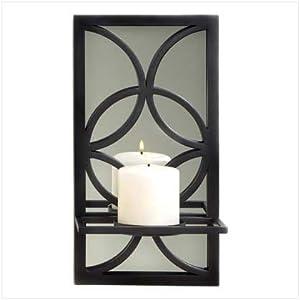 Amazon.com - Curvy Black Wrought Iron Mirror Wall Candle ... on Black Wrought Iron Wall Candle Holders id=93087