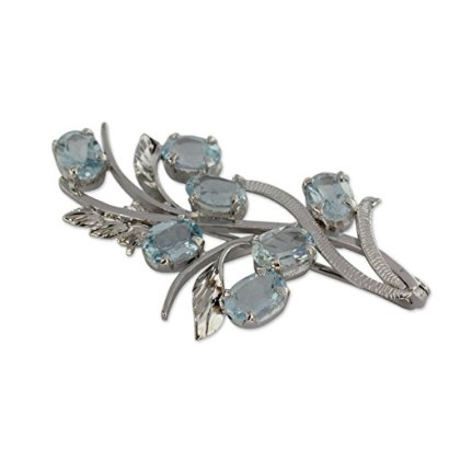 NOVICA-Blue-Topaz-925-Sterling-Silver-Brooch-Blossoming-Truth